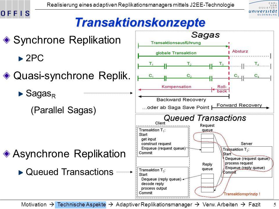 Realisierung eines adaptiven Replikationsmanagers mittels J2EE-Technologie 5 Transaktionskonzepte Synchrone Replikation 2PC Asynchrone Replikation Queued Transactions Quasi-synchrone Replik.