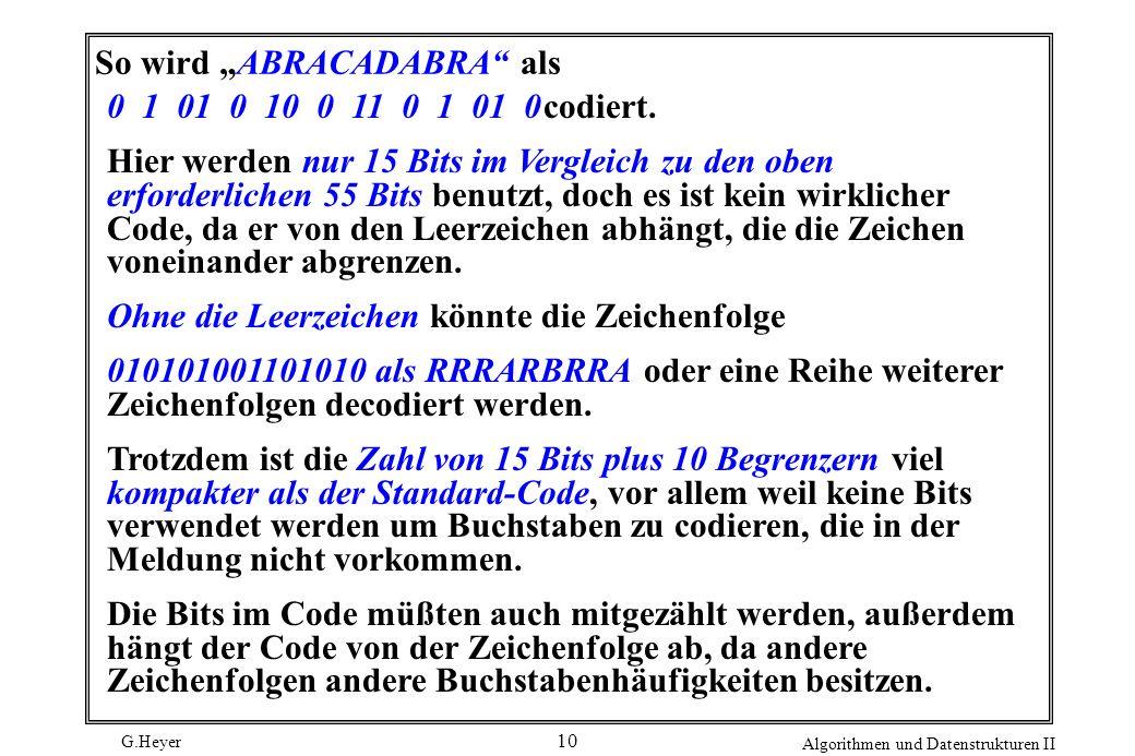 G.Heyer Algorithmen und Datenstrukturen II 10 So wird ABRACADABRA als 0 1 01 0 10 0 11 0 1 01 0codiert. Hier werden nur 15 Bits im Vergleich zu den ob