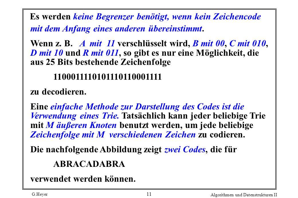 G.Heyer Algorithmen und Datenstrukturen II 11 Es werden keine Begrenzer benötigt, wenn kein Zeichencode mit dem Anfang eines anderen übereinstimmt. We