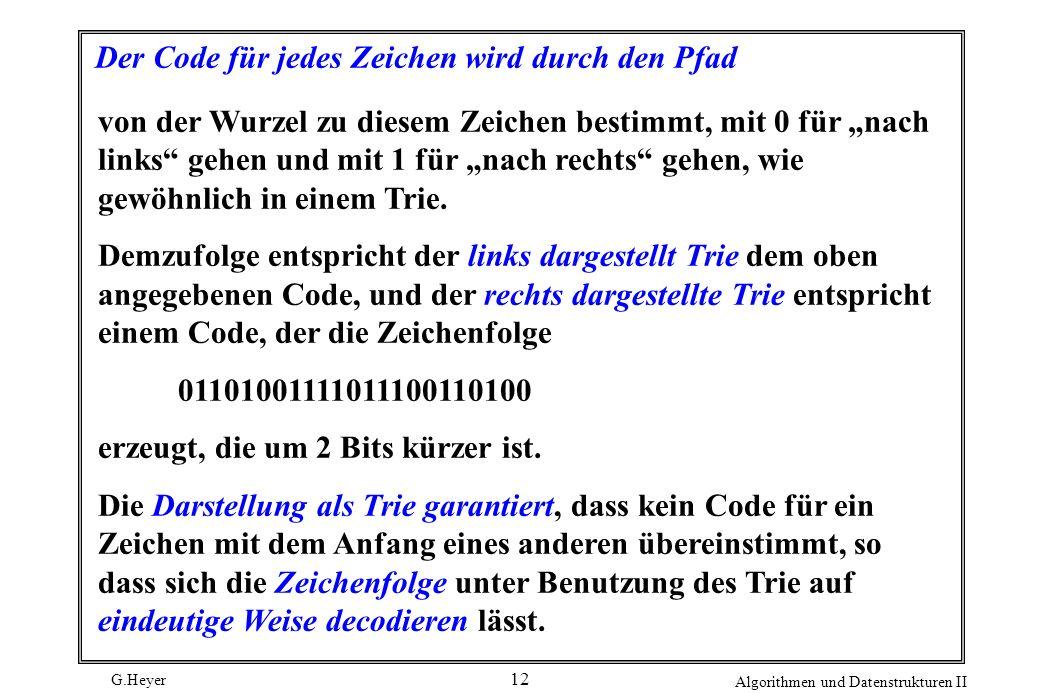 G.Heyer Algorithmen und Datenstrukturen II 12 Der Code für jedes Zeichen wird durch den Pfad von der Wurzel zu diesem Zeichen bestimmt, mit 0 für nach