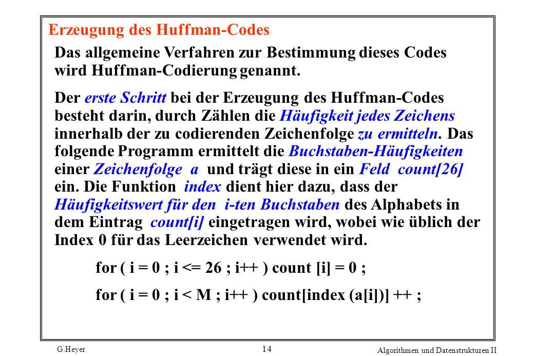 G.Heyer Algorithmen und Datenstrukturen II 14 Erzeugung des Huffman-Codes Das allgemeine Verfahren zur Bestimmung dieses Codes wird Huffman-Codierung