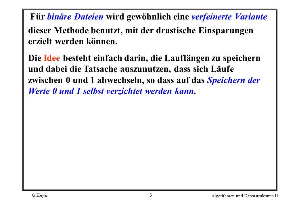 G.Heyer Algorithmen und Datenstrukturen II 3 Für binäre Dateien wird gewöhnlich eine verfeinerte Variante dieser Methode benutzt, mit der drastische E