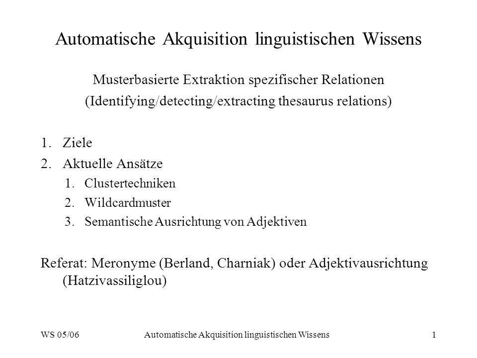 WS 05/06Automatische Akquisition linguistischen Wissens1 Musterbasierte Extraktion spezifischer Relationen (Identifying/detecting/extracting thesaurus relations) 1.Ziele 2.Aktuelle Ansätze 1.Clustertechniken 2.Wildcardmuster 3.Semantische Ausrichtung von Adjektiven Referat: Meronyme (Berland, Charniak) oder Adjektivausrichtung (Hatzivassiliglou)
