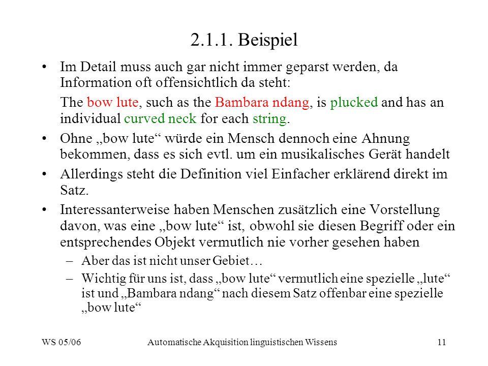 WS 05/06Automatische Akquisition linguistischen Wissens11 2.1.1.