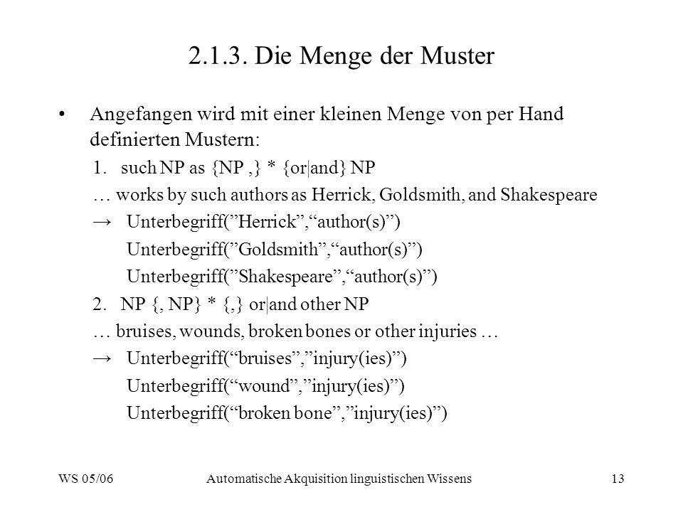 WS 05/06Automatische Akquisition linguistischen Wissens13 2.1.3.