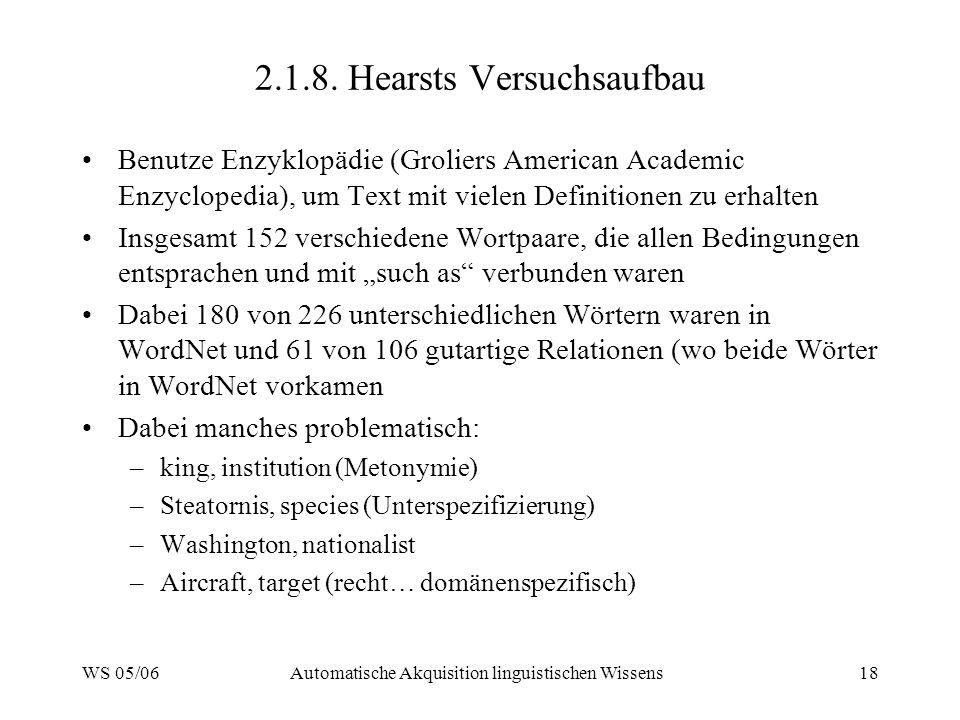 WS 05/06Automatische Akquisition linguistischen Wissens18 2.1.8.