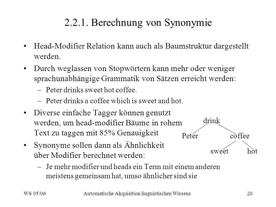 WS 05/06Automatische Akquisition linguistischen Wissens20 2.2.1.