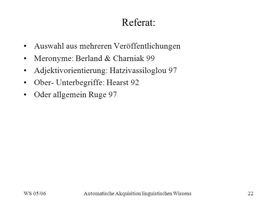 WS 05/06Automatische Akquisition linguistischen Wissens22 Referat: Auswahl aus mehreren Veröffentlichungen Meronyme: Berland & Charniak 99 Adjektivorientierung: Hatzivassiloglou 97 Ober- Unterbegriffe: Hearst 92 Oder allgemein Ruge 97