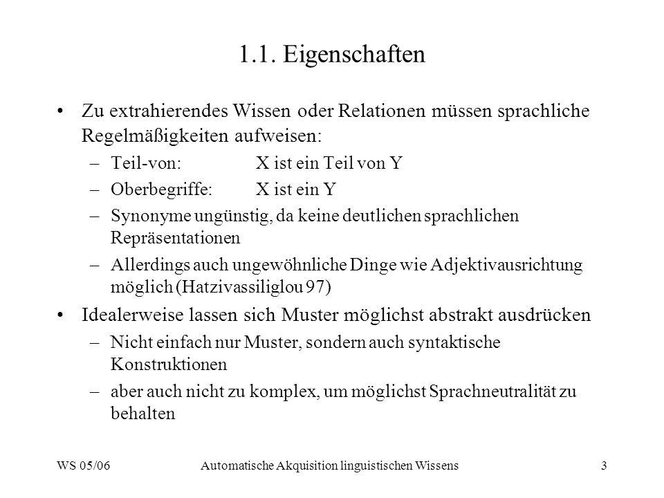 WS 05/06Automatische Akquisition linguistischen Wissens3 1.1.