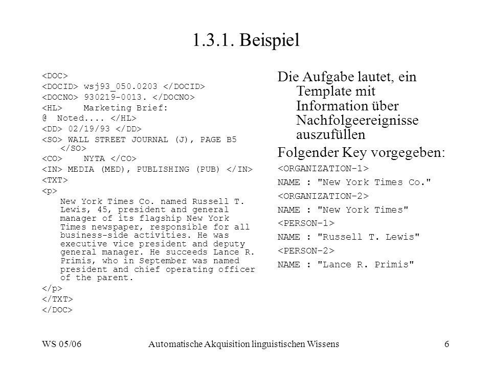 WS 05/06Automatische Akquisition linguistischen Wissens6 1.3.1.