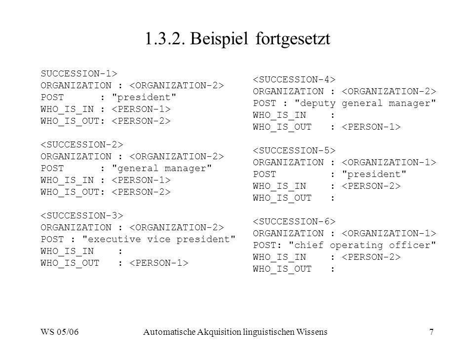 WS 05/06Automatische Akquisition linguistischen Wissens7 1.3.2.