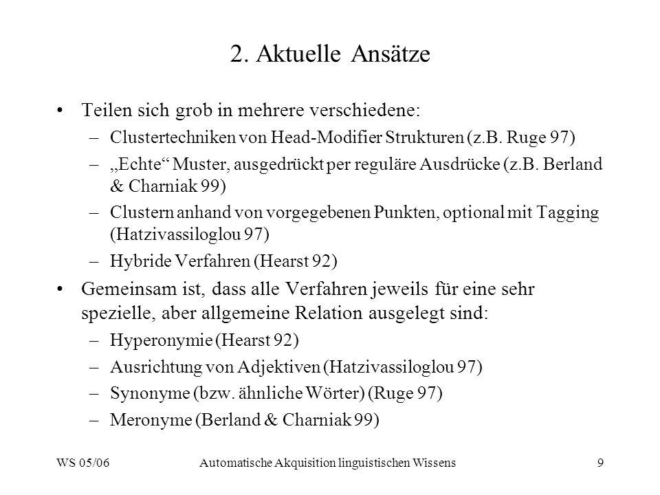 WS 05/06Automatische Akquisition linguistischen Wissens9 2.