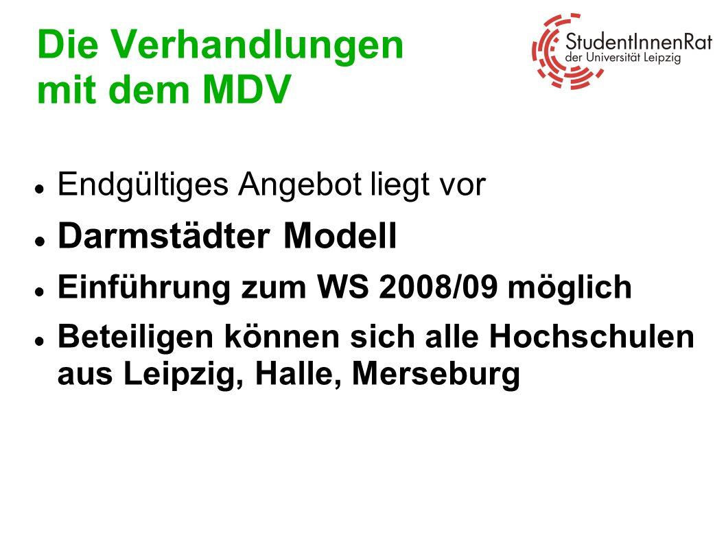 Die Verhandlungen mit dem MDV Endgültiges Angebot liegt vor Darmstädter Modell Einführung zum WS 2008/09 möglich Beteiligen können sich alle Hochschul