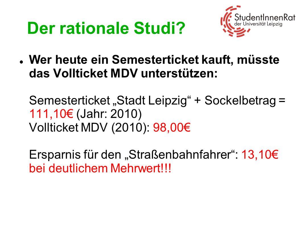 Der rationale Studi? Wer heute ein Semesterticket kauft, müsste das Vollticket MDV unterstützen: Semesterticket Stadt Leipzig + Sockelbetrag = 111,10