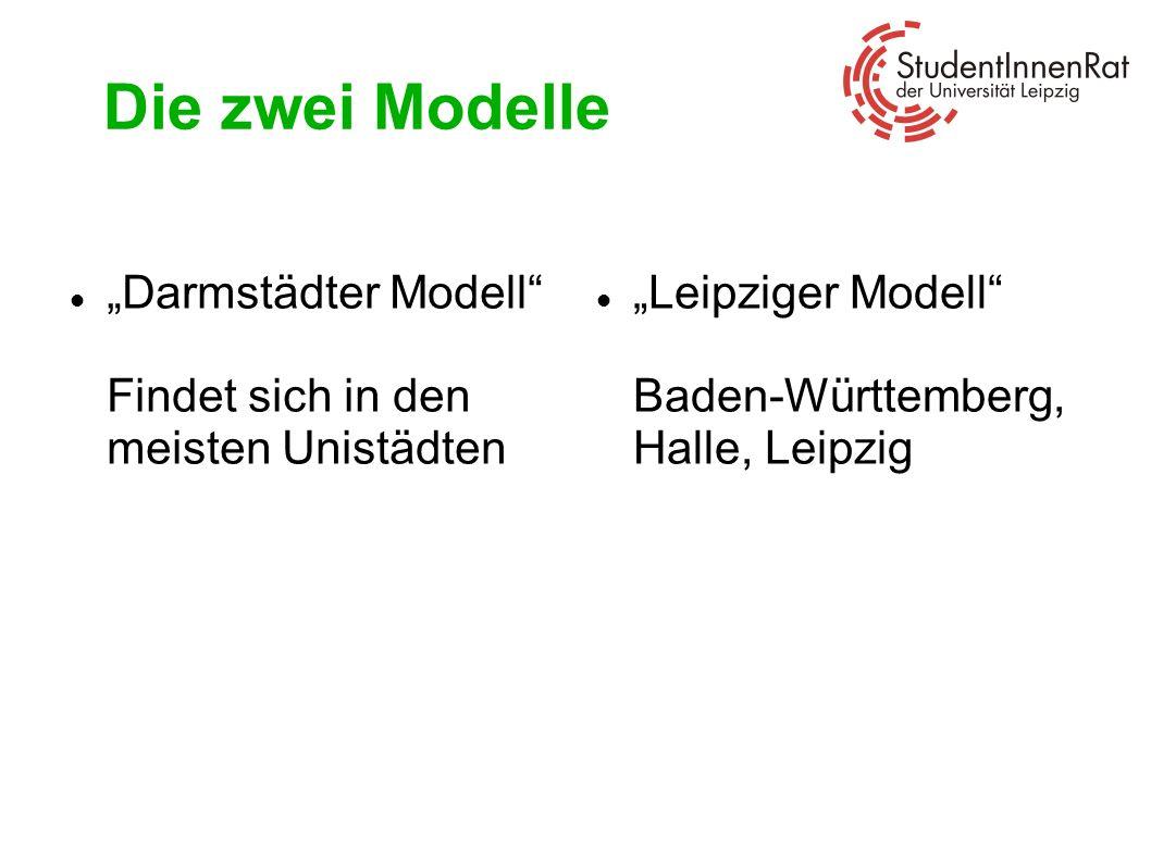 Darmstädter Modell Der Studiausweis funktioniert als Fahrkarte Alle StudentInnen sind verpflichtet, das Semesterticket zu kaufen, unabhängig davon, ob sie das Semesterticket nutzen oder nicht Die Gebühren werden automatisch mit dem Semesterbeitrag (Rückmeldung) eingezogen