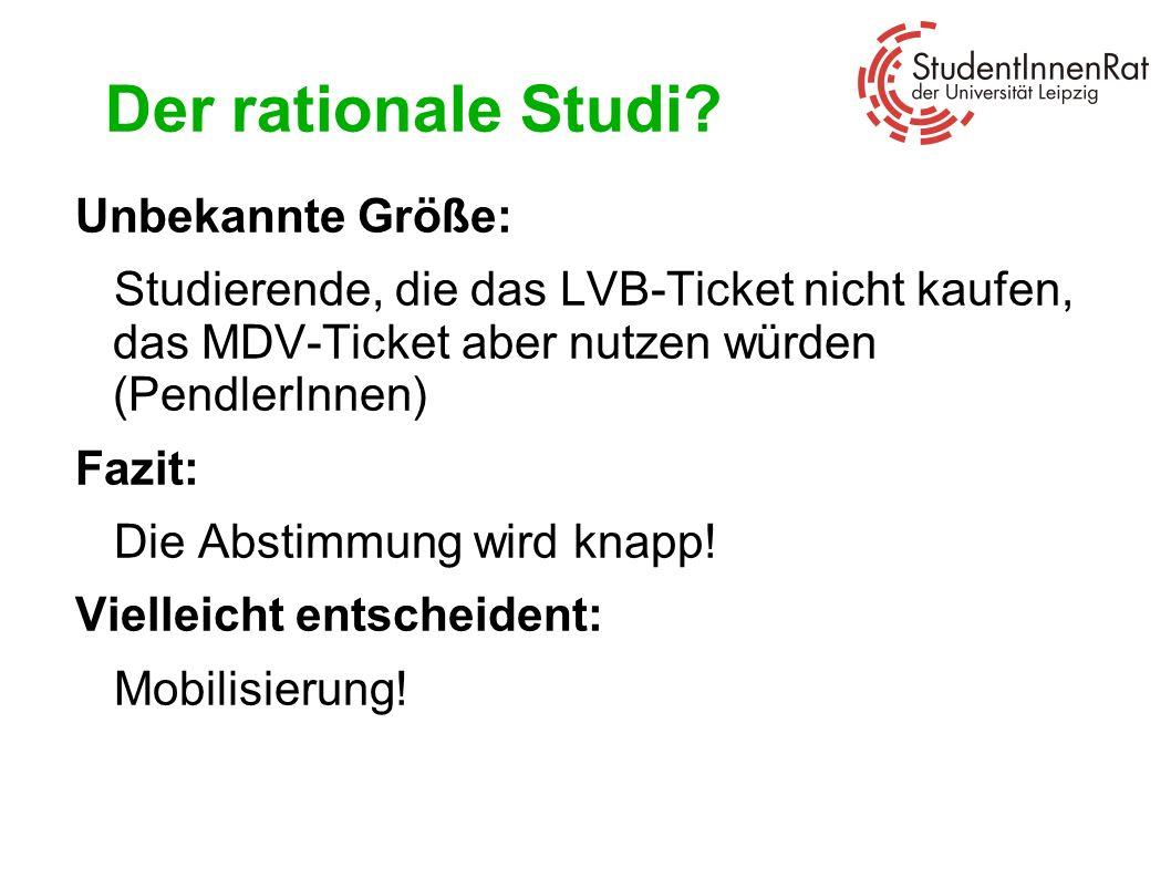Der rationale Studi? Unbekannte Größe: Studierende, die das LVB-Ticket nicht kaufen, das MDV-Ticket aber nutzen würden (PendlerInnen) Fazit: Die Absti