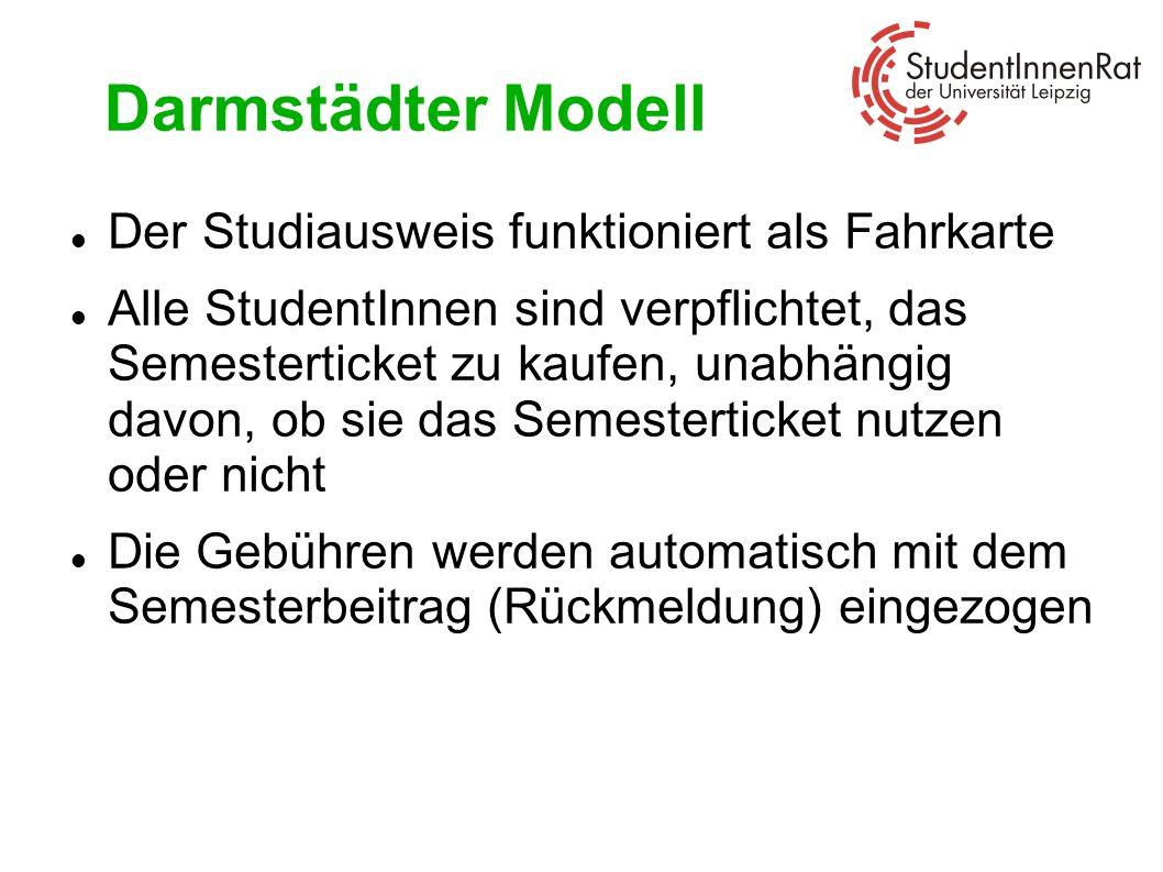 Darmstädter Modell Der Studiausweis funktioniert als Fahrkarte Alle StudentInnen sind verpflichtet, das Semesterticket zu kaufen, unabhängig davon, ob