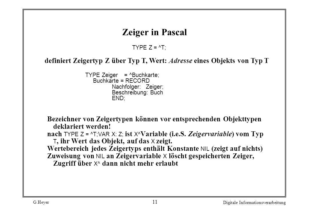 G.Heyer Digitale Informationsverarbeitung 11 Zeiger in Pascal TYPE Z = ^T; definiert Zeigertyp Z über Typ T, Wert: Adresse eines Objekts von Typ T TYP