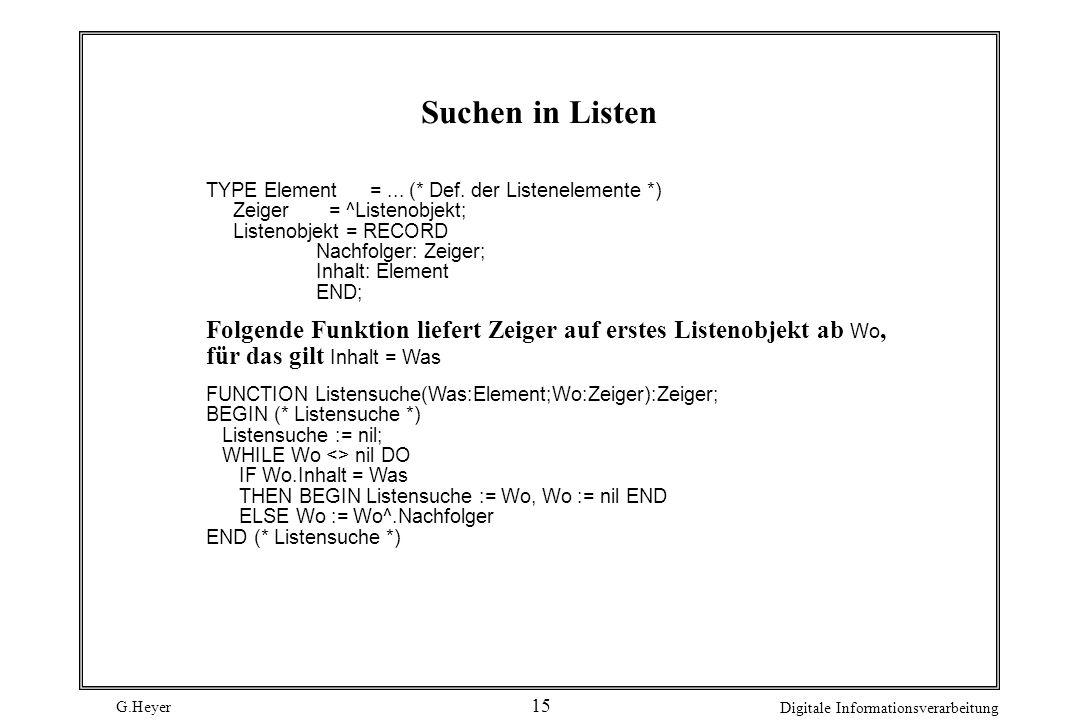G.Heyer Digitale Informationsverarbeitung 15 Suchen in Listen TYPE Element =... (* Def. der Listenelemente *) Zeiger = ^Listenobjekt; Listenobjekt = R