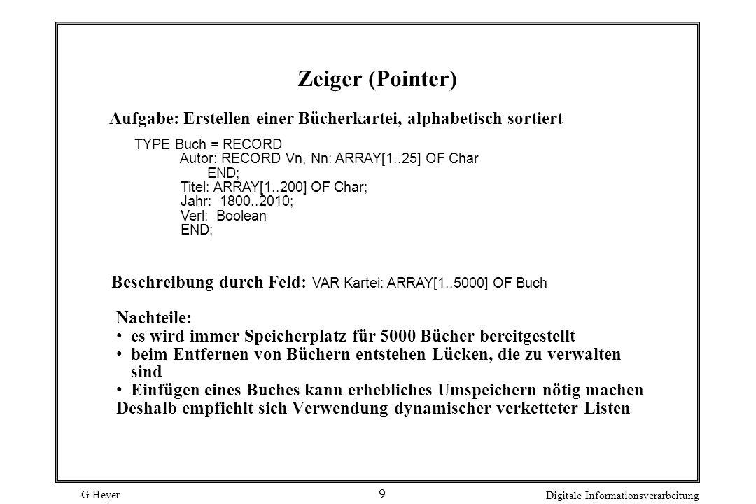 G.Heyer Digitale Informationsverarbeitung 9 Zeiger (Pointer) Aufgabe: Erstellen einer Bücherkartei, alphabetisch sortiert TYPE Buch = RECORD Autor: RE