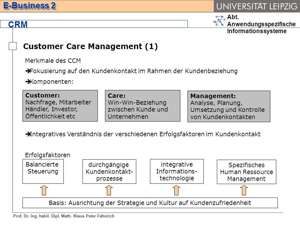 Abt. Anwendungsspezifische Informationssysteme Prof. Dr. Ing. habil. Dipl. Math. Klaus Peter Fähnrich E-Business 2 Merkmale des CCM Fokusierung auf de