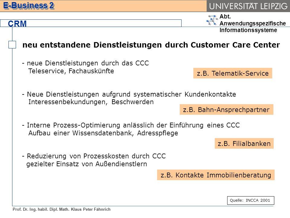Abt. Anwendungsspezifische Informationssysteme Prof. Dr. Ing. habil. Dipl. Math. Klaus Peter Fähnrich E-Business 2 neu entstandene Dienstleistungen du