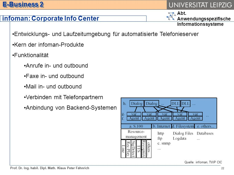 Abt. Anwendungsspezifische Informationssysteme Prof. Dr. Ing. habil. Dipl. Math. Klaus Peter Fähnrich E-Business 2 22 Entwicklungs- und Laufzeitumgebu
