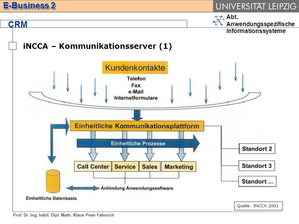 Abt. Anwendungsspezifische Informationssysteme Prof. Dr. Ing. habil. Dipl. Math. Klaus Peter Fähnrich E-Business 2 CRM iNCCA – Kommunikationsserver (1