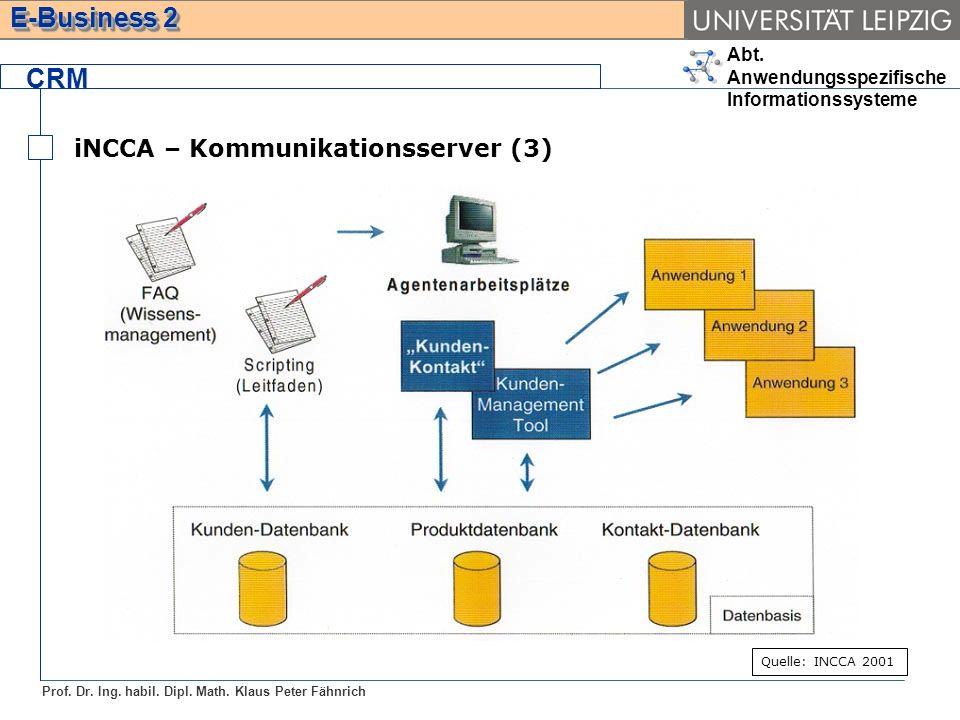 Abt. Anwendungsspezifische Informationssysteme Prof. Dr. Ing. habil. Dipl. Math. Klaus Peter Fähnrich E-Business 2 CRM iNCCA – Kommunikationsserver (3
