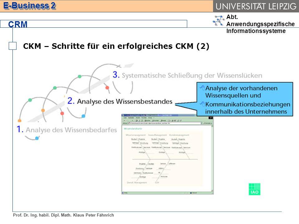 Abt. Anwendungsspezifische Informationssysteme Prof. Dr. Ing. habil. Dipl. Math. Klaus Peter Fähnrich E-Business 2 CRM CKM – Schritte für ein erfolgre