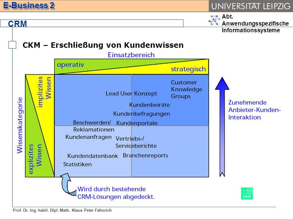 Abt. Anwendungsspezifische Informationssysteme Prof. Dr. Ing. habil. Dipl. Math. Klaus Peter Fähnrich E-Business 2 CRM CKM – Erschließung von Kundenwi