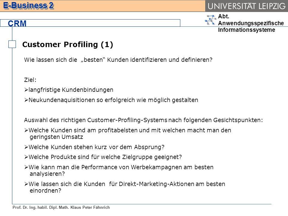 Abt. Anwendungsspezifische Informationssysteme Prof. Dr. Ing. habil. Dipl. Math. Klaus Peter Fähnrich E-Business 2 CRM Customer Profiling (1) Wie lass