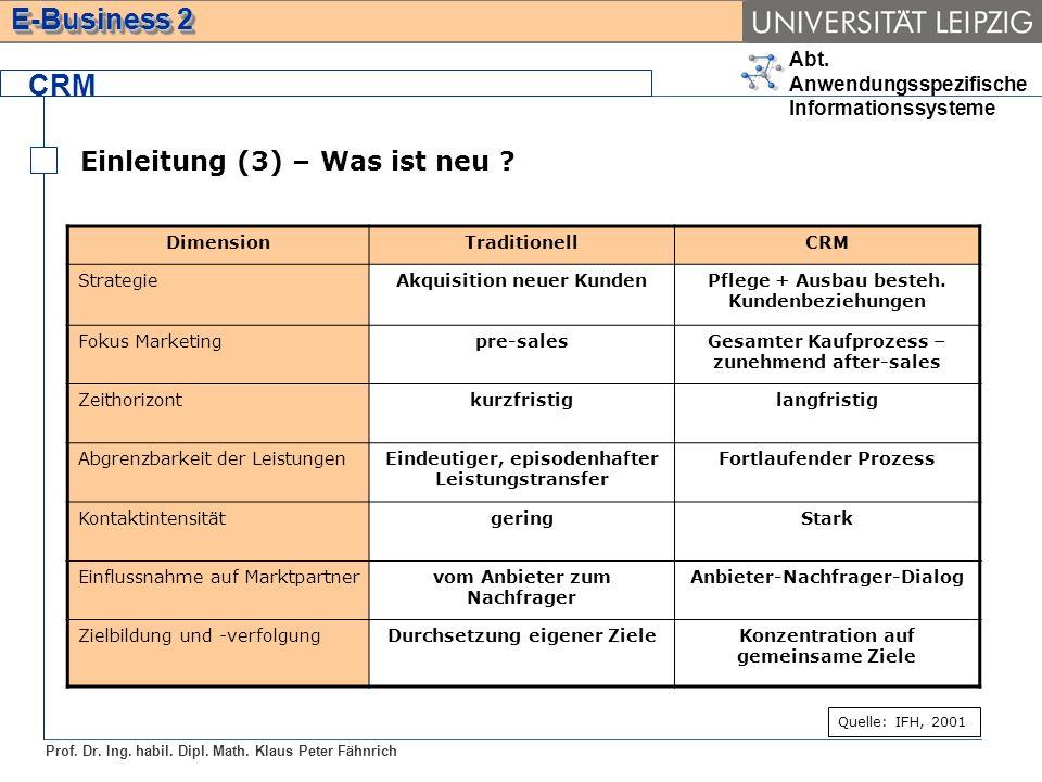 Abt. Anwendungsspezifische Informationssysteme Prof. Dr. Ing. habil. Dipl. Math. Klaus Peter Fähnrich E-Business 2 CRM Einleitung (3) – Was ist neu ?