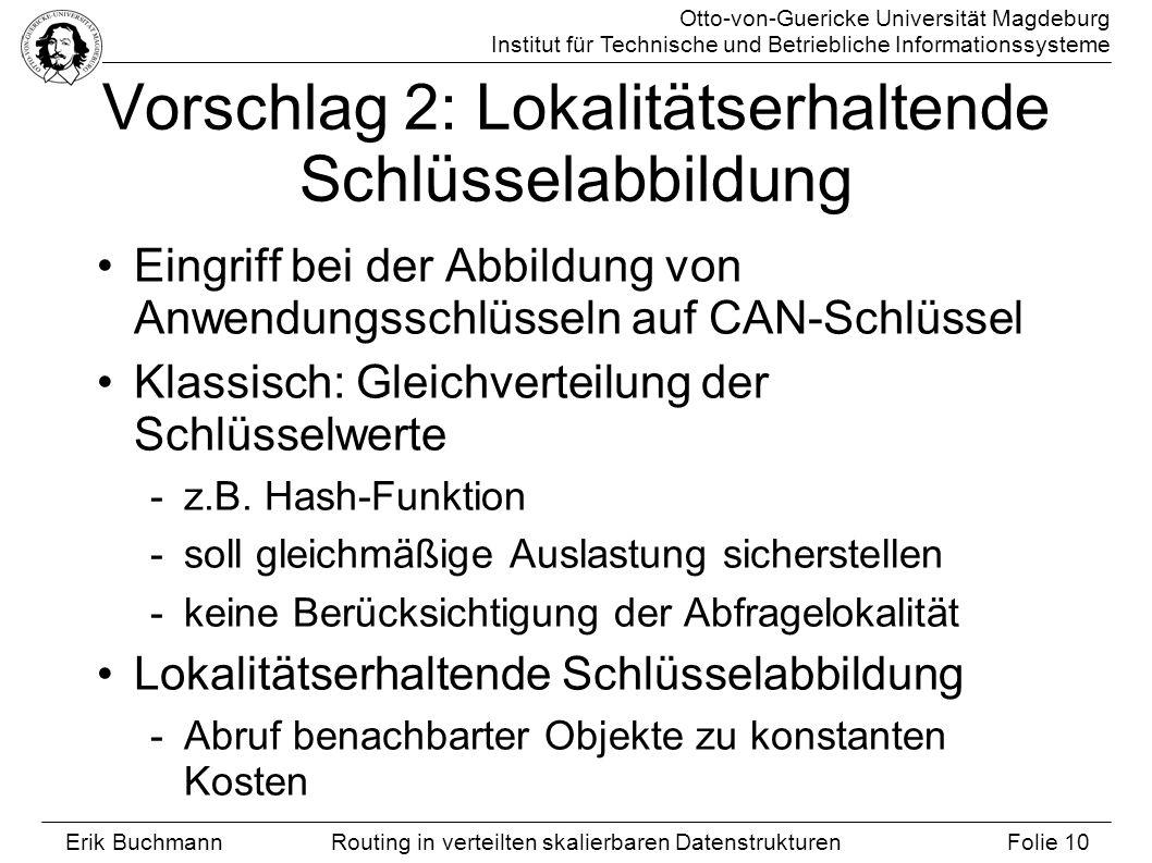 Otto-von-Guericke Universität Magdeburg Institut für Technische und Betriebliche Informationssysteme Erik Buchmann Folie 10 Routing in verteilten skal