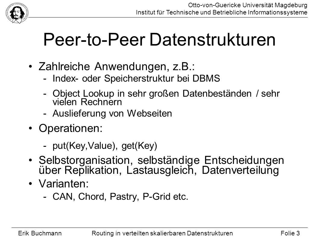 Otto-von-Guericke Universität Magdeburg Institut für Technische und Betriebliche Informationssysteme Erik Buchmann Folie 4 Routing in verteilten skalierbaren Datenstrukturen Content-Adressable Networks Jeder Knoten -hat eigenen, n-dimensionalen Schlüsselbereich (Torus) -kennt alle Nachbarn seines Schlüsselbereichs -leitet Messages an Nachbarn in Richtung des Ziels weiter 13 4 5 3 1 122 9 8 0 10 7 611