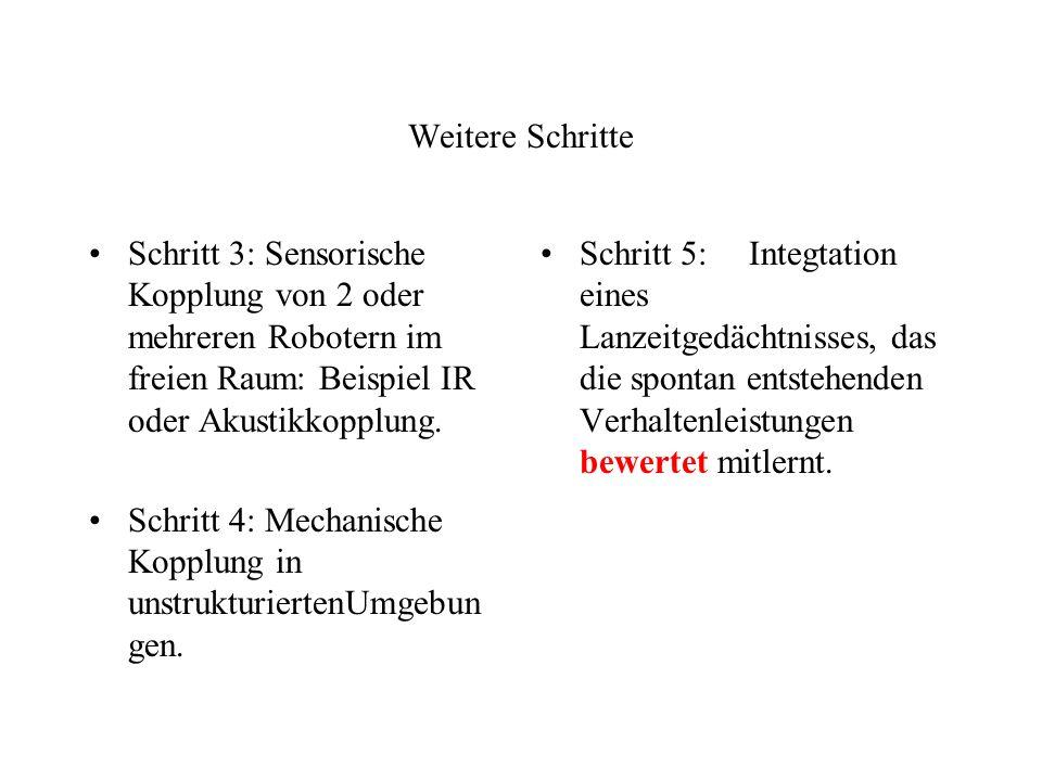 Weitere Schritte Schritt 3: Sensorische Kopplung von 2 oder mehreren Robotern im freien Raum: Beispiel IR oder Akustikkopplung.