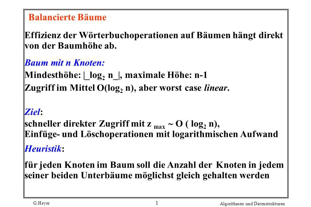 G.Heyer Algorithmen und Datenstrukturen 2 Balancierte Binärbäume 2 unterschiedliche Vorgehensweisen: (1) die zulässige Höhendifferenz der beiden Unterbäume ist beschränkt ( ==> höhenbalancierte Bäume ) (2) das Verhältnis der Knotengewichte der beiden Unterbäume erfüllt gewisse Bedingungen.