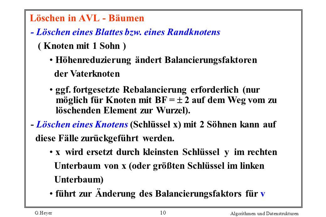 G.Heyer Algorithmen und Datenstrukturen 10 Löschen in AVL - Bäumen - Löschen eines Blattes bzw. eines Randknotens ( Knoten mit 1 Sohn ) Höhenreduzieru