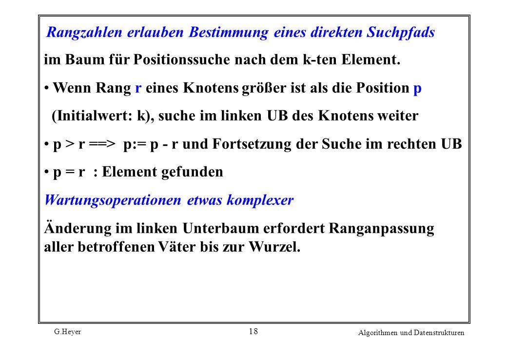 G.Heyer Algorithmen und Datenstrukturen 18 Rangzahlen erlauben Bestimmung eines direkten Suchpfads im Baum für Positionssuche nach dem k-ten Element.