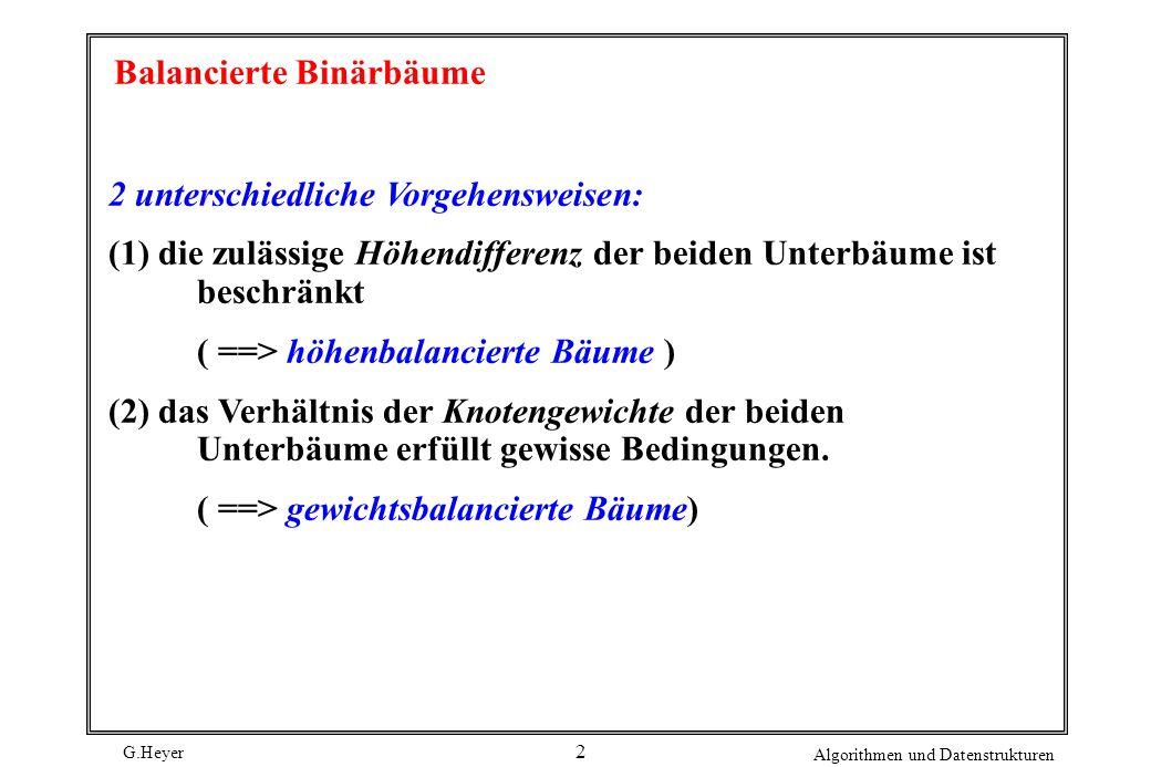 G.Heyer Algorithmen und Datenstrukturen 2 Balancierte Binärbäume 2 unterschiedliche Vorgehensweisen: (1) die zulässige Höhendifferenz der beiden Unter