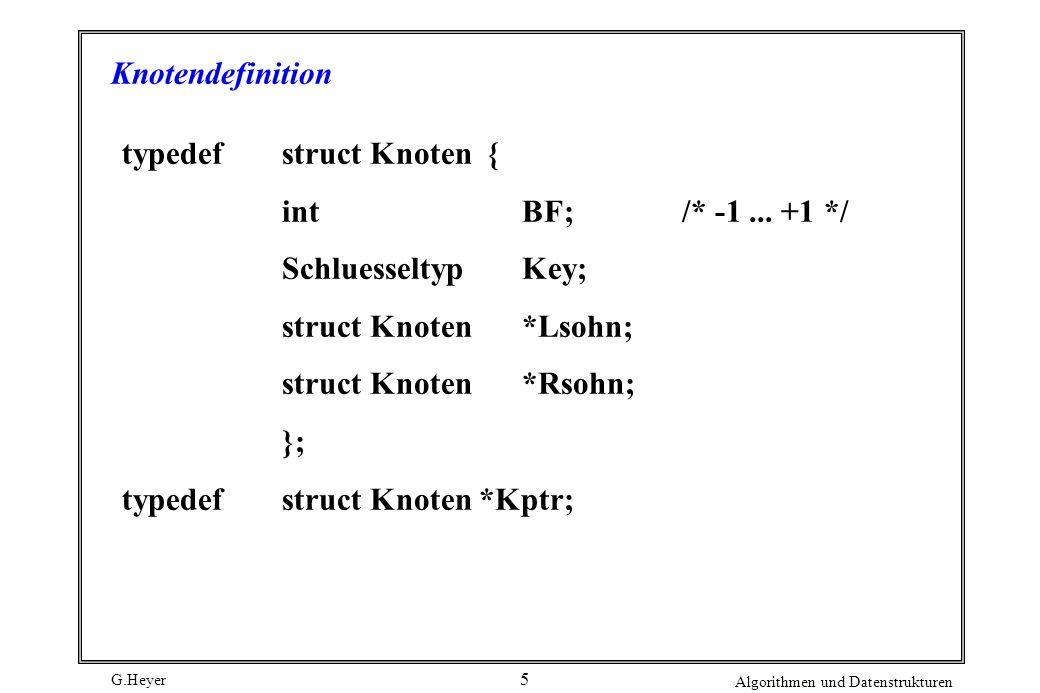 G.Heyer Algorithmen und Datenstrukturen 5 Knotendefinition typedefstruct Knoten { intBF; /* -1... +1 */ SchluesseltypKey; struct Knoten*Lsohn; struct