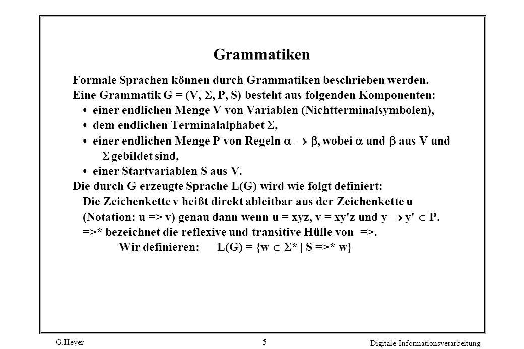 G.Heyer Digitale Informationsverarbeitung 6 Ableitungsbaum 1.