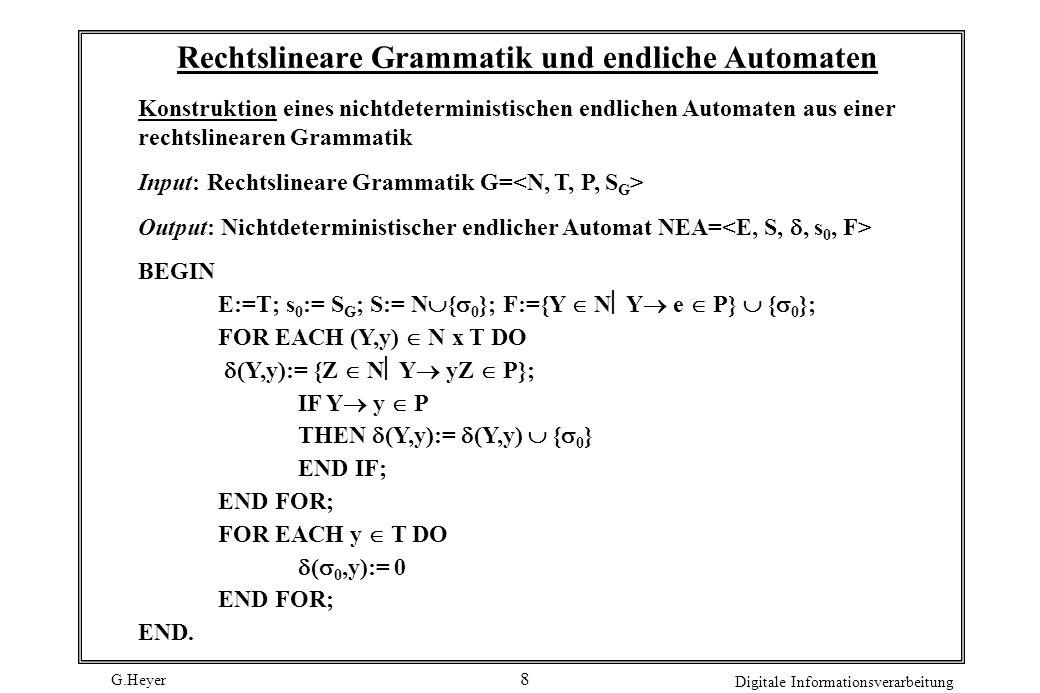 G.Heyer Digitale Informationsverarbeitung 9 Typen von Grammatiken eine Grammatik heißt kontextsensitiv falls für alle Regeln w1 -> w2 gilt: |w1| |w2| (|w|: Anzahl der Variablen und Terminalzeichen von w) kontextfrei falls für alle Regeln w1 -> w2 gilt: w1 aus V regulär falls zusätzlich gilt: w2 Terminalzeichen oder Terminalzeichen gefolgt von Variable durch Grammatiktypen erzeugbare Sprachen bilden echte Teilmengen reguläre Sprachen kontextfreie Sprachen kontextsensitive Sprachen alle Sprachen rekursiv aufzählbare Sprachen durch beliebige Grammatiken erzeugbar Chomsky- Hierarchie