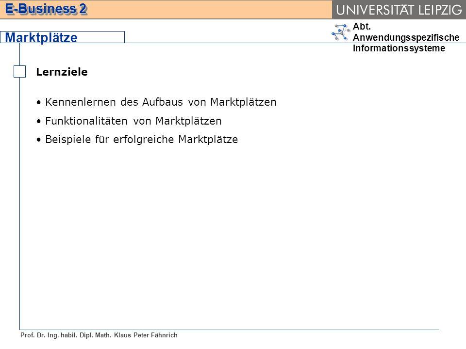 Abt. Anwendungsspezifische Informationssysteme Prof. Dr. Ing. habil. Dipl. Math. Klaus Peter Fähnrich E-Business 2 Lernziele Kennenlernen des Aufbaus