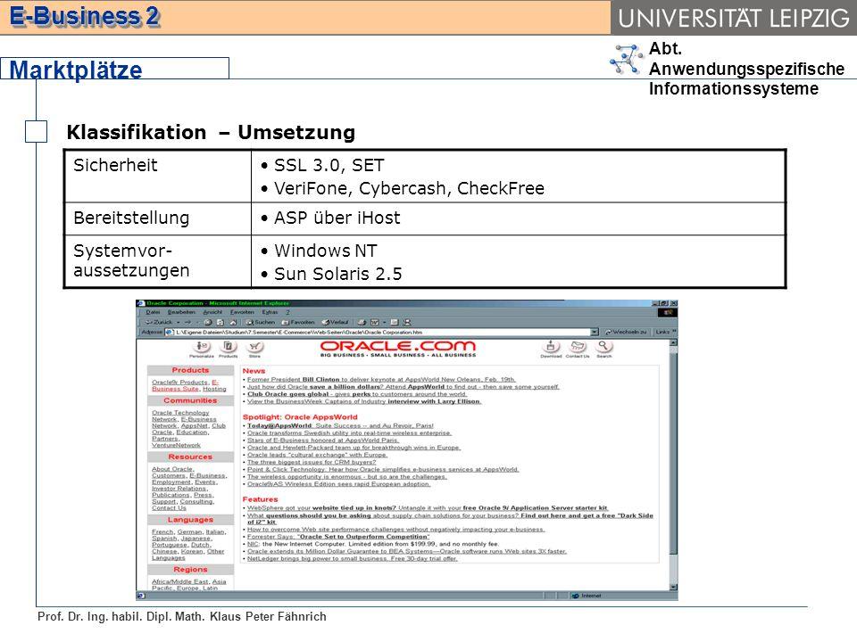 Abt. Anwendungsspezifische Informationssysteme Prof. Dr. Ing. habil. Dipl. Math. Klaus Peter Fähnrich E-Business 2 Marktplätze Klassifikation – Umsetz