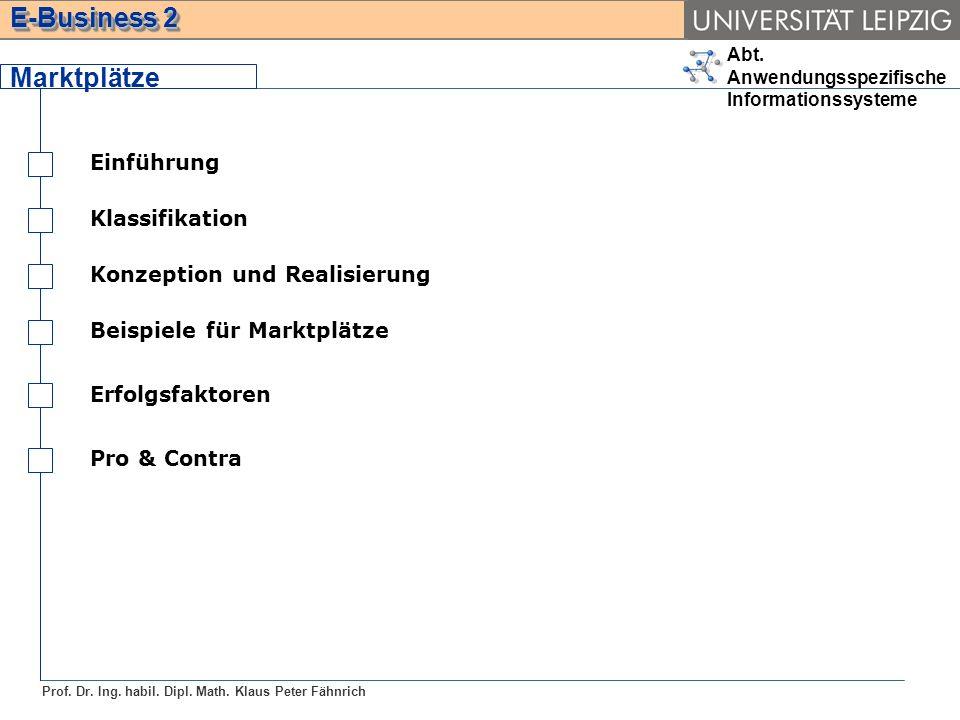 Abt. Anwendungsspezifische Informationssysteme Prof. Dr. Ing. habil. Dipl. Math. Klaus Peter Fähnrich E-Business 2 Marktplätze Einführung Klassifikati