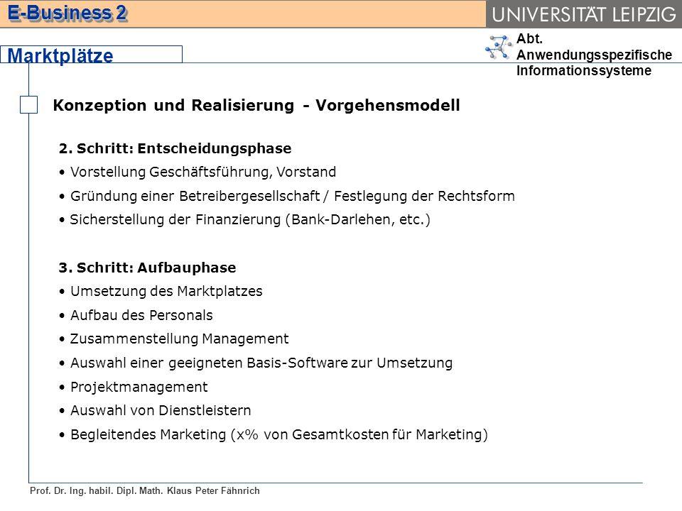 Abt. Anwendungsspezifische Informationssysteme Prof. Dr. Ing. habil. Dipl. Math. Klaus Peter Fähnrich E-Business 2 Marktplätze Konzeption und Realisie