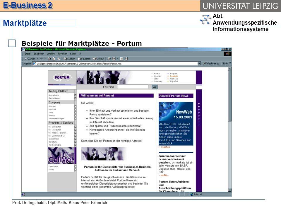 Abt. Anwendungsspezifische Informationssysteme Prof. Dr. Ing. habil. Dipl. Math. Klaus Peter Fähnrich E-Business 2 Marktplätze Beispiele für Marktplät
