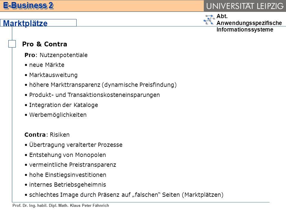Abt. Anwendungsspezifische Informationssysteme Prof. Dr. Ing. habil. Dipl. Math. Klaus Peter Fähnrich E-Business 2 Marktplätze Pro & Contra Pro: Nutze