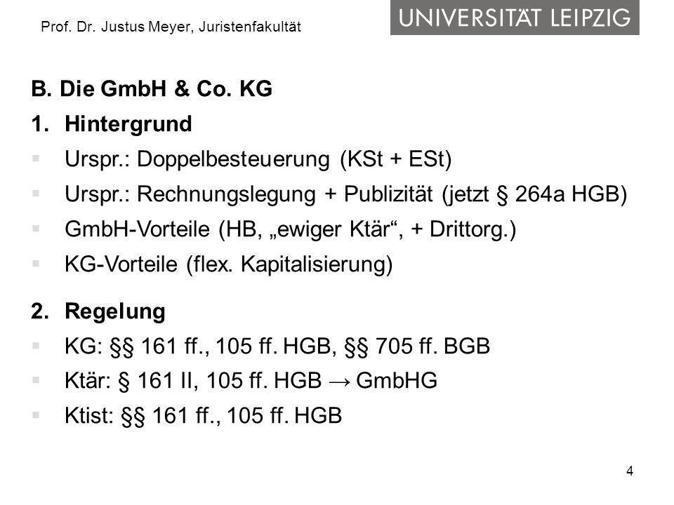4 Prof. Dr. Justus Meyer, Juristenfakultät B. Die GmbH & Co. KG 1.Hintergrund Urspr.: Doppelbesteuerung (KSt + ESt) Urspr.: Rechnungslegung + Publizit